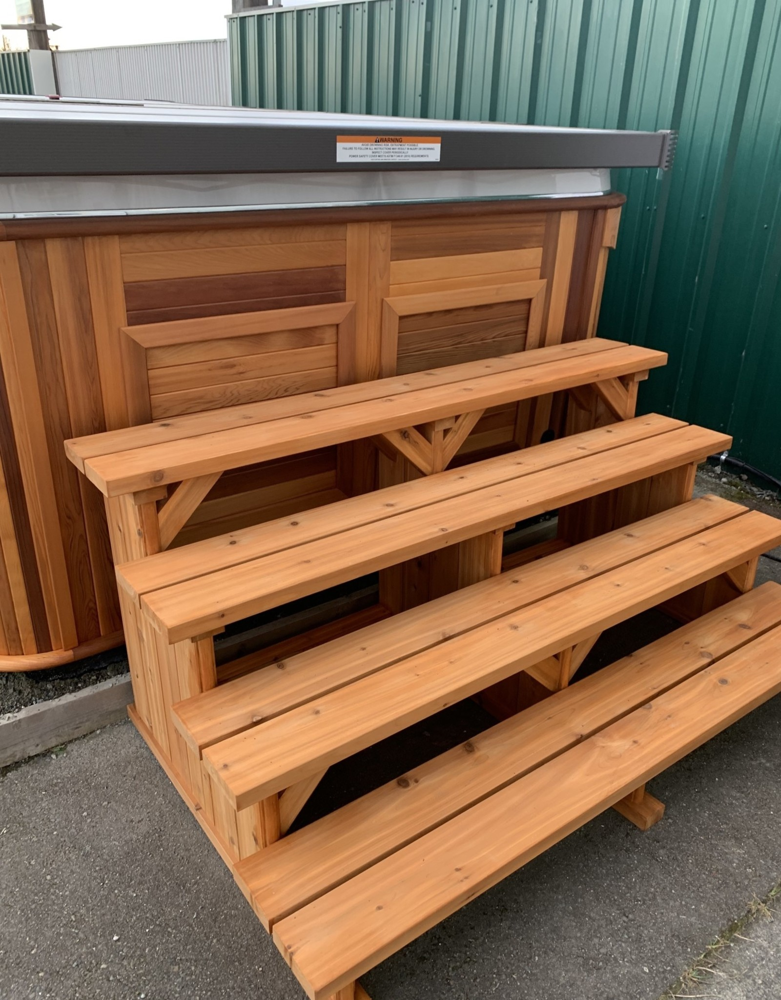"""One Of A Kind Creative Woodworking Step 72"""" 4-Tier Lengthwise Tread Knotty Cedar Stained"""