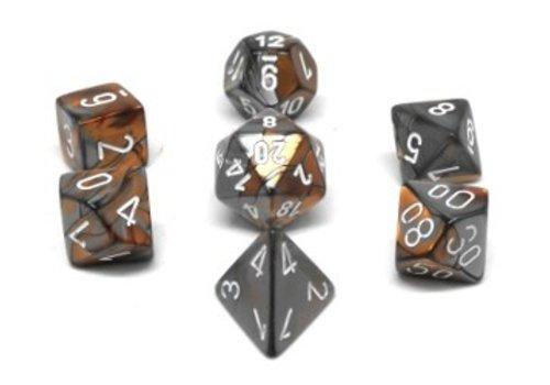 chessex Ensemble de 7 dés polyédriques Gemini cuivre / acier avec chiffres blancs