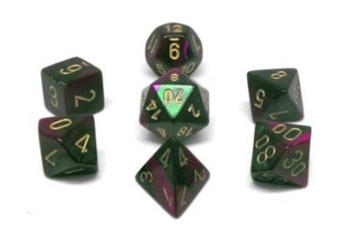 chessex Ensemble de 7 dés polyédriques Gemini vert/violet avec chiffres dorés