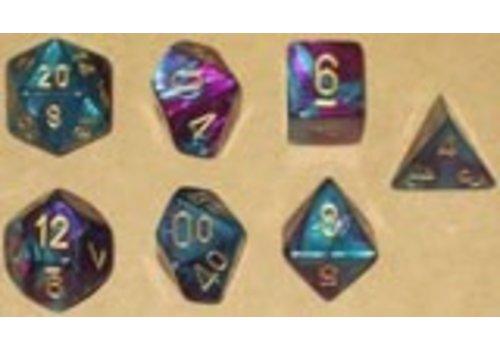 chessex Ensemble de 7 dés polyédriques Gemini violet/sarcelle avec chiffres dorés