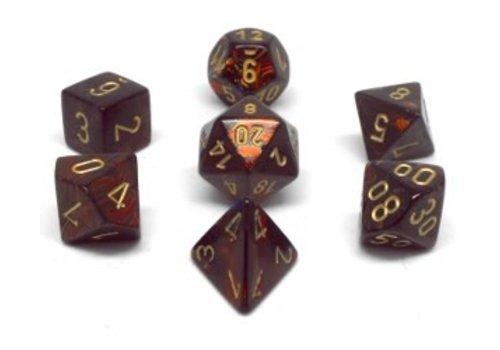 chessex Ensemble de 7 dés polyédriques Scarab - Blue Blood avec chiffres dorés