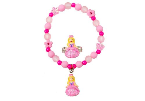 creative education Pink Princess Ball Gown Bracelet & Ring