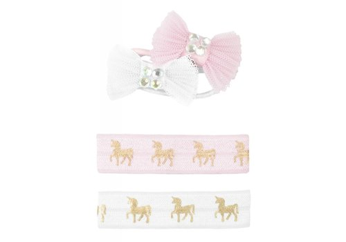 creative education Pink Unicorn Hair Ties & Bows, Set of 4