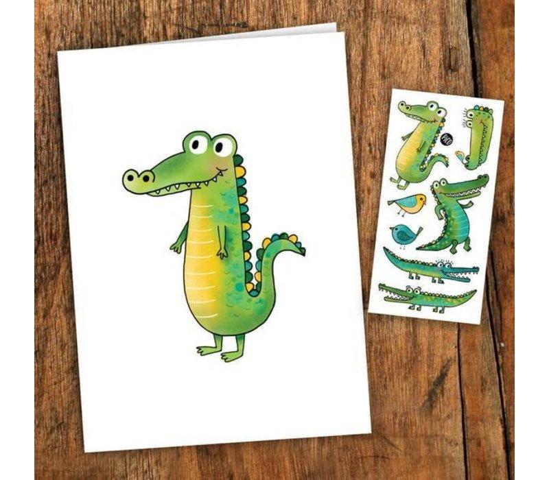 Carte de souhait- Le crocodile