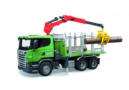 Bruder Scania R-Series Timber Truck with loading crane, grabe and 3 trunks