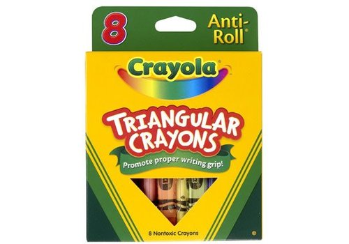 8 crayons de cire triangulaires antiroulement