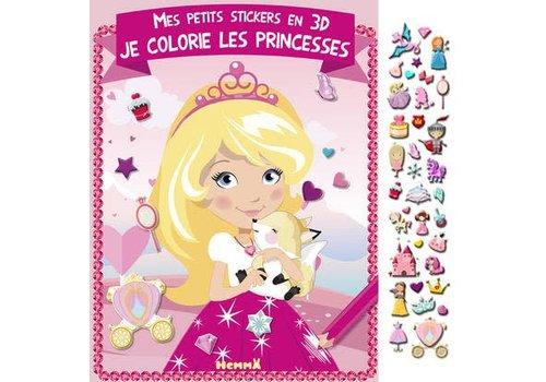 Mes petits stickers en 3D Je colorie les princesses