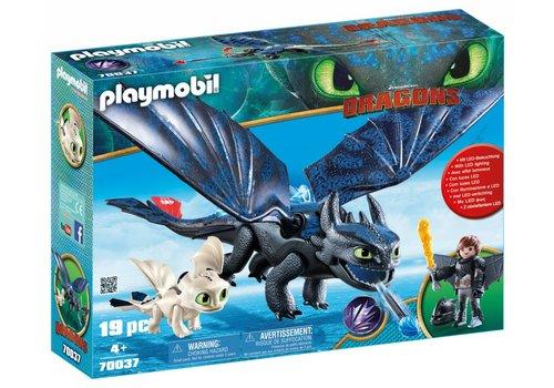 Playmobil Krokmou et Harold avec bebe dragon