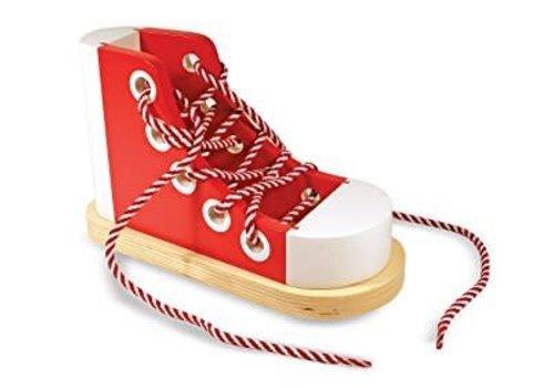 Melissa & Doug Chaussure à lacer en bois - Wooden Lacing Shoe