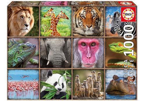 Educa-Borras Casse-tête 1000 pièces Collage d'animaux sauvages