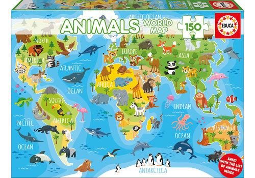 Casse-tête 150 pièces - Mappemonde animaux