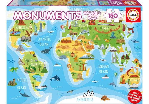 Educa-Borras Casse-tête 150 pièces Carte du monde monuments