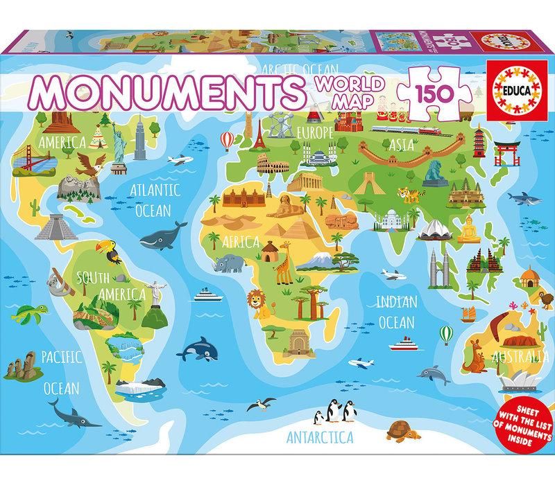 Casse-tête 150 pièces Carte du monde monuments