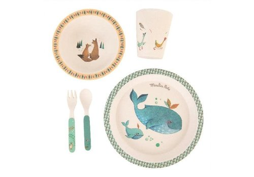 moulin roty Voyage D'Olga vaisselle bambou - baby dish set, bamboo
