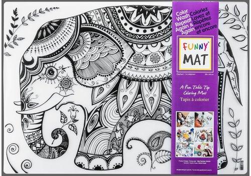 Funny Mat Napperon à colorier Éléphant