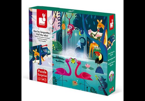 """Janod Puzzle Surprise - """"Festin Dans La Jungle"""" - 20 Pcs"""