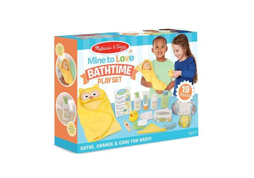 Melissa & Doug Mine to love- Doll Bathtime Play Set- Ensemble d'accessoires de bain pour poupées