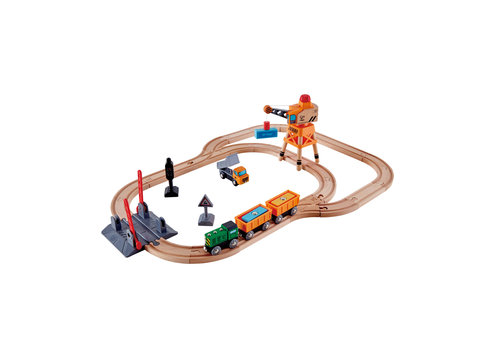 Hape Circuit du train Cargo - Crossing and Crane Train Set