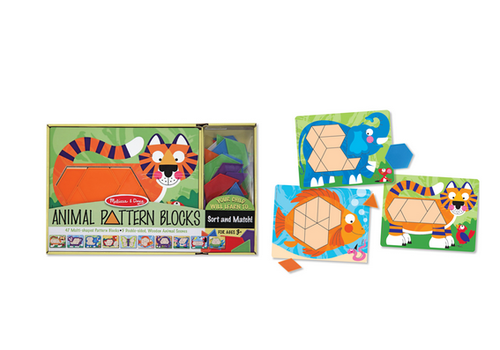 Melissa & Doug Animal Pattern Blocks - Animaux avec formes géométriques à associer