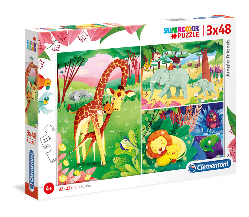 Casse-tête 3 x 48 morceaux : Les amis de la jungle