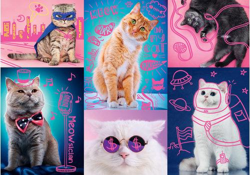 Casse-tête 1000 morceaux Néon chats originaux - 1000 pieces puzzle originaux