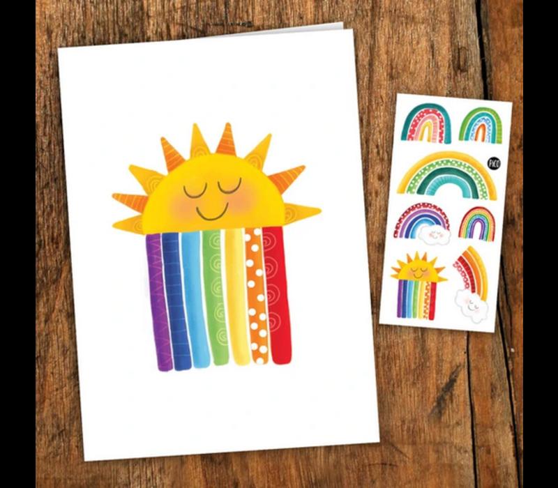 Carte de souhait - Les arc-en-ciel colorés