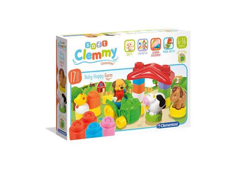 Clementoni Blocs Soft Clemmy - Les animaux de la ferme 19 morceaux (multilingue)