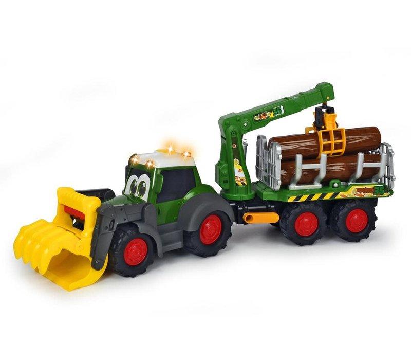 Happy Fendt Tracteur forestier et remorque Sons et lumières 65 cm