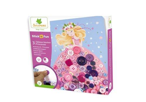 Sycomore Stick'N Fun - Petit modèle 3 Tableaux Boutons - Princesses