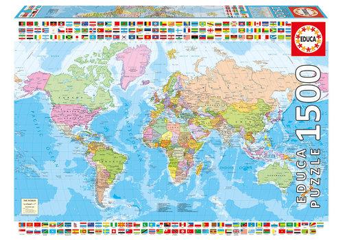 Educa Casse-tête 1500 pièces - Carte du monde politique