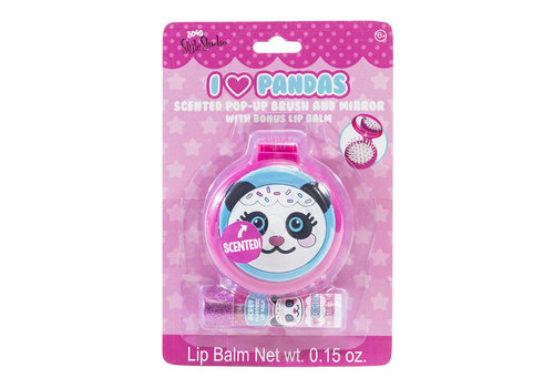 3C4G 3C4G- Brosse à cheveux et miroir compact Panda