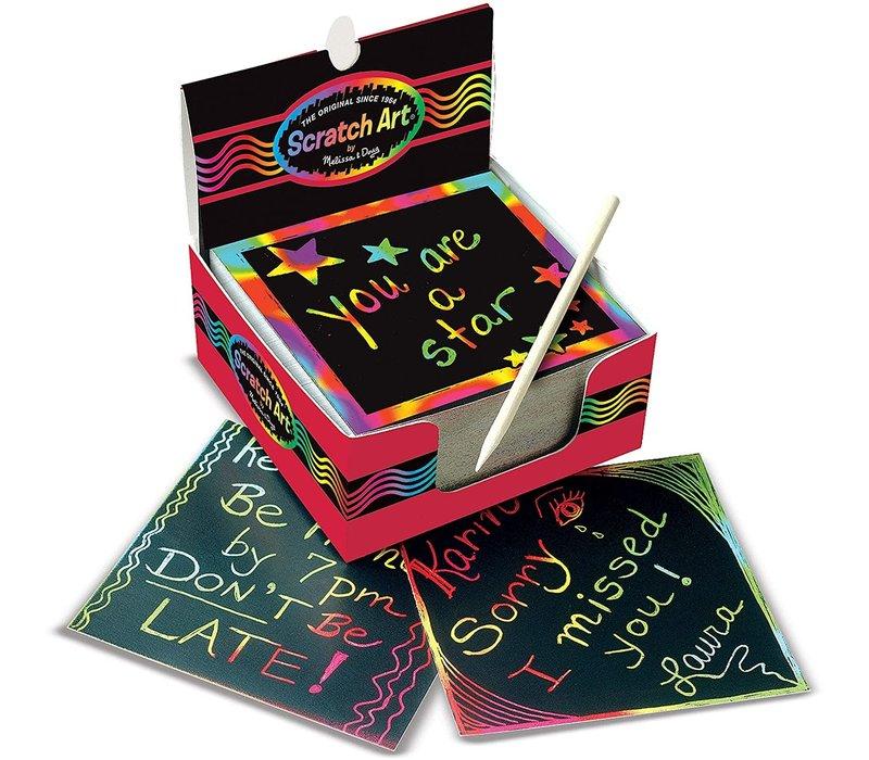 Box of Rainbow Mini Notes, Boîte de mini-notes, carte à gratter