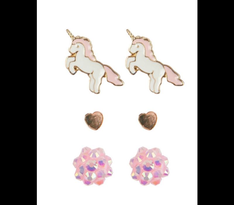 Boutique Unicorn Studded Earrings, 3 Sets