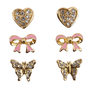 creative education Boutique Dazzle Studded Earrings, 3 Sets