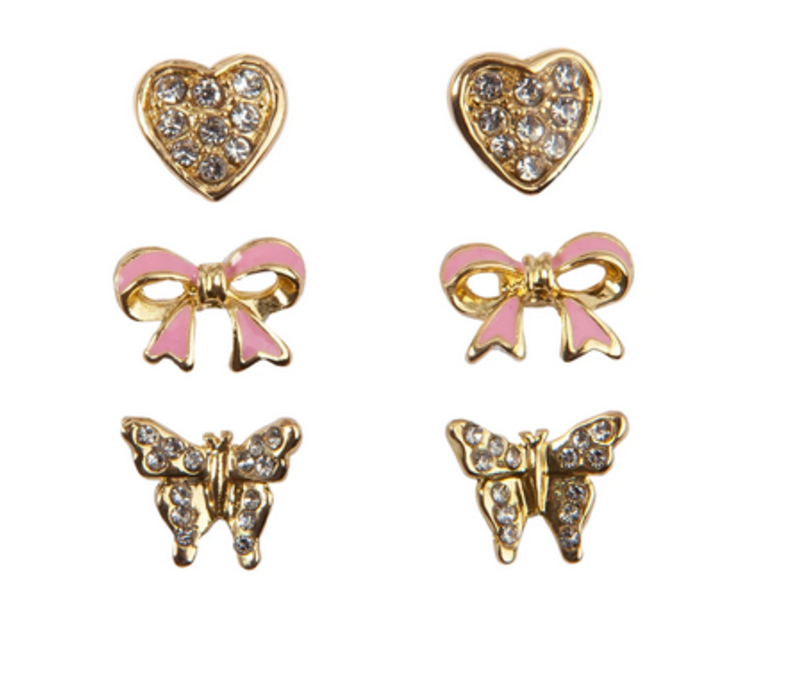 Boutique Dazzle Studded Earrings, 3 Sets