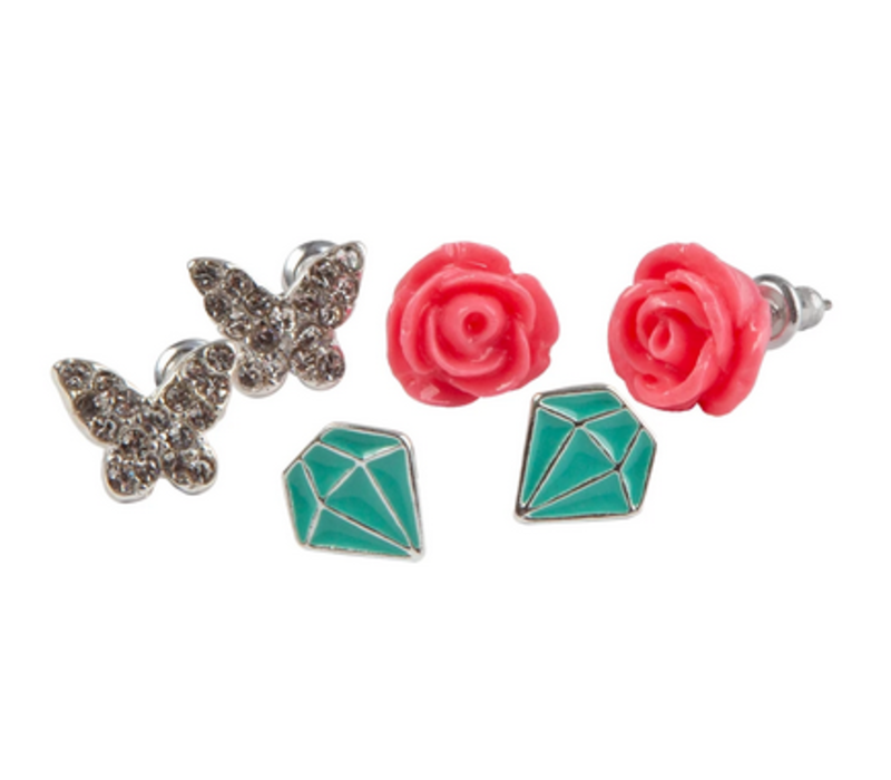 Boutique Rose Studded Earrings, 3 Sets