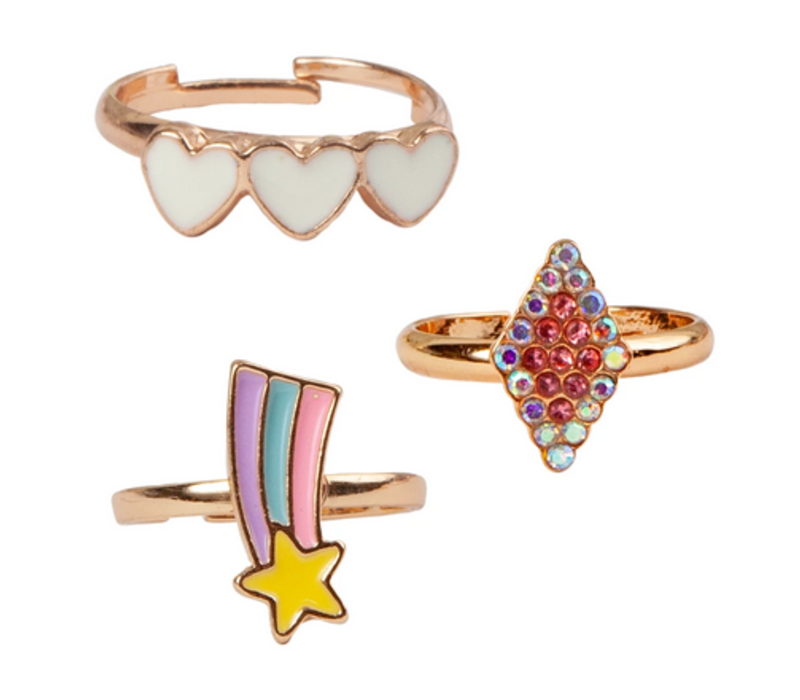 Boutique Heart Star Rings, 3 Pcs