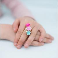 Boutique Rose Rings & Earring Set, 3 Rings, 1 Set of Clip on Earrings