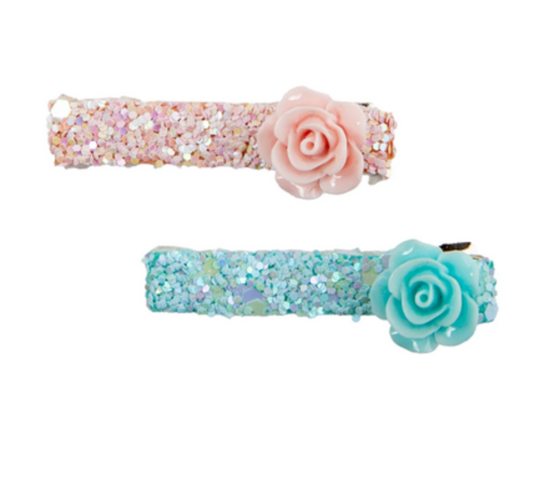Boutique Glitter Rosette Hairclips, 2 Pcs