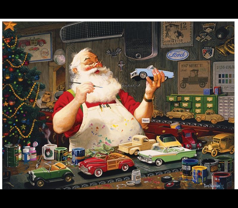 Casse-tête 1000 morceaux- Santa's painting car- Père Noël et ses voitures
