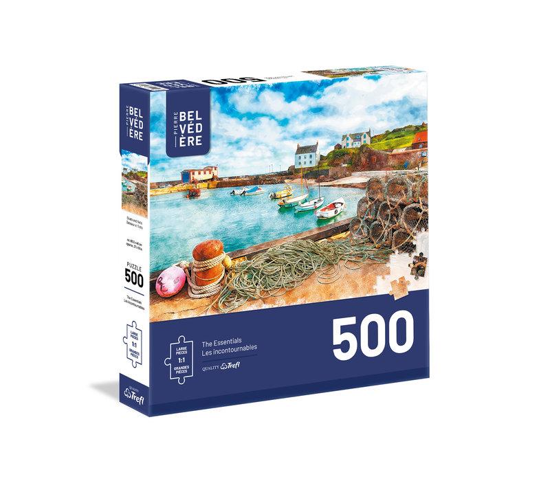 Casse-tête 500 morceaux - Aquarelle, bateau et filet