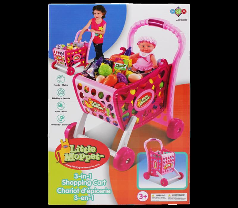 Chariot d'épicerie 3 en 1 - Rose