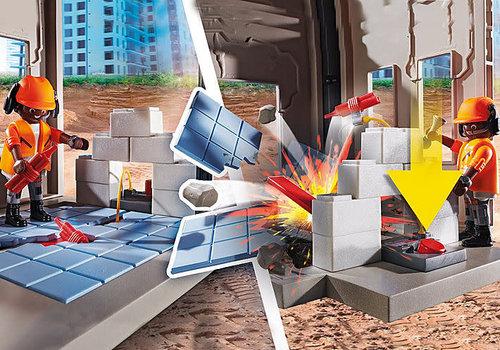 Playmobil Dragline avec mur de construction