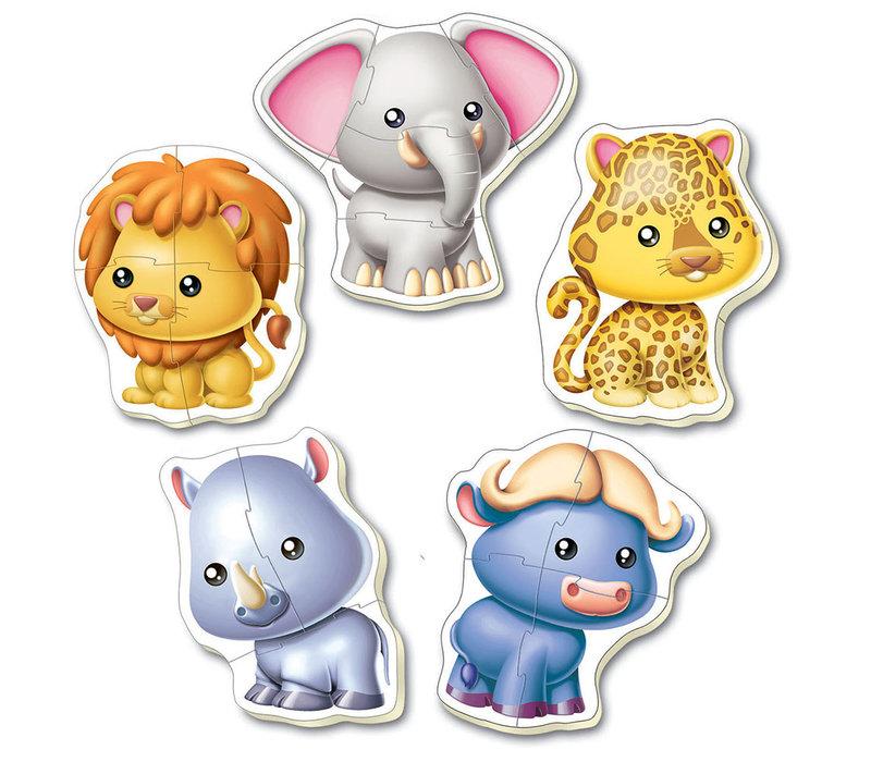 5 Casse-têtes bébé - Animaux sauvages
