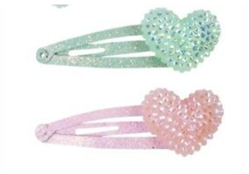 creative education Boutique Sparkle Heart Bobble Hairclips, 2 Pcs, Assorted