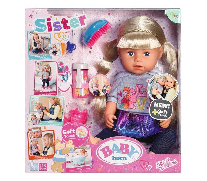 """Baby Born- Poupée Grande sœur interactive """"Soft Touch"""" 43 cm"""