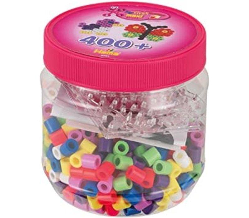 400 perles hama Maxi - Maxi 400 beads & Pegboard in tub pink