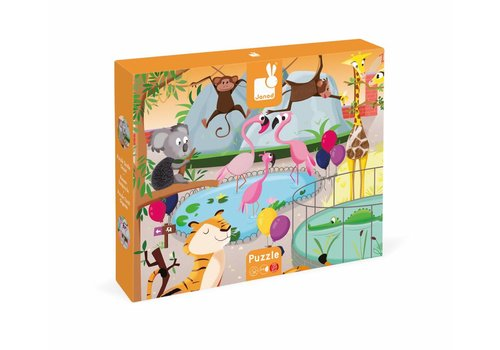 Janod Tactile Puzzle 'A Day at the Zoo' - 20pcs