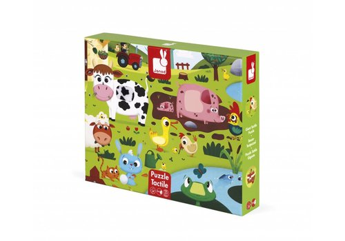 Janod Tactile Puzzle 'Farm Animals' - 20pcs