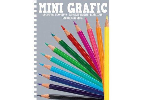 Djeco Mini Grafic - 12 crayons de couleur